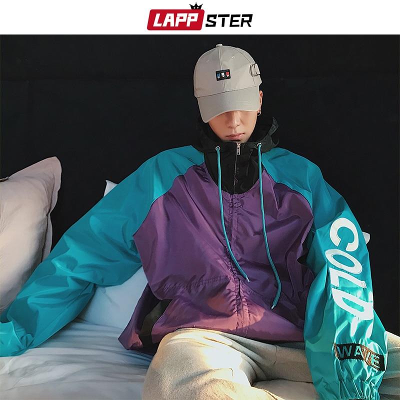 LAPPSTER Men Patchwork Bomber Jackets Windbreaker 2020 Mens Streetwear Hip Hop Jackets And Coats Male Vintage Hooded Jackets XL