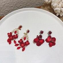 MENGJIQIAO coreano elegante rosso acrilico fiore orecchini pendenti Pendientes Mujer Moda elegante Sqaure cristallo festa ragazza gioielli regali