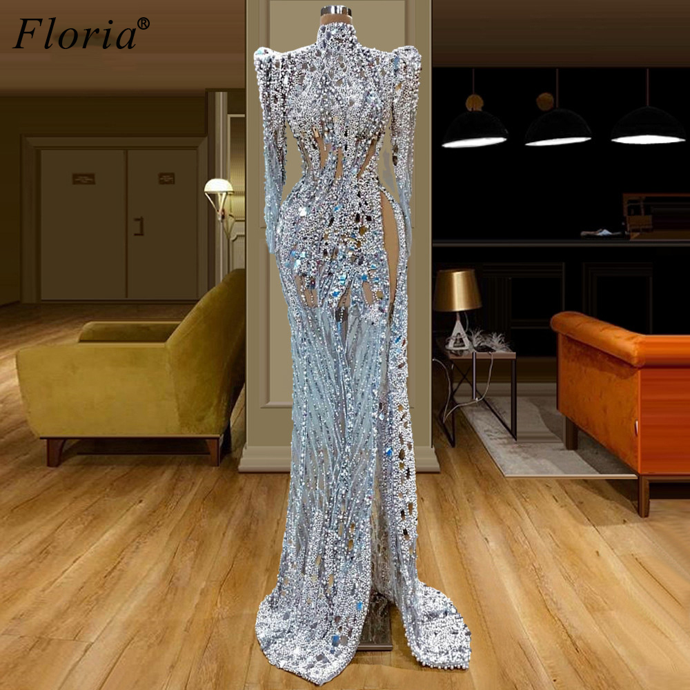 Turkish Couture Fashion Celebrity Dresses 2020 Dubai Transparent Formal Evening Dresses Woman Party Night Elegant Pearls Gowns