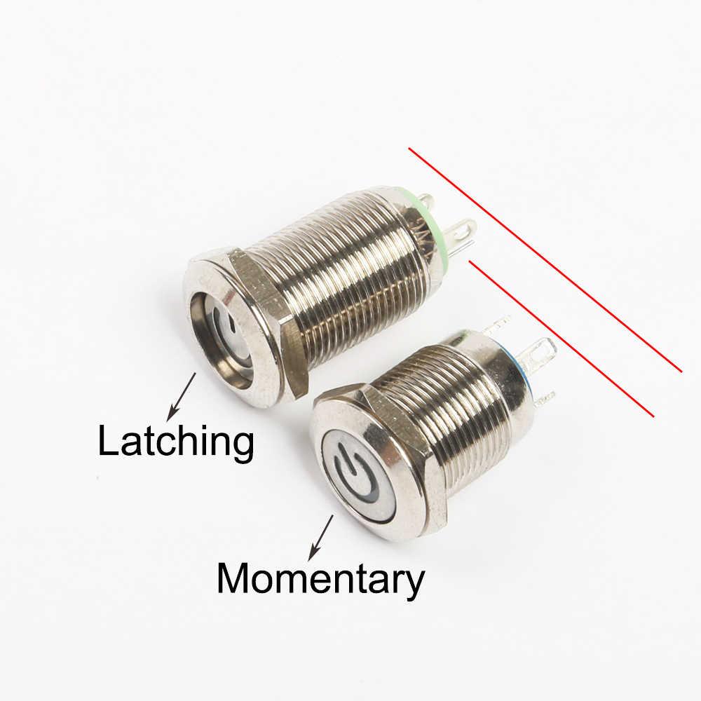 12 мм светодиодный металлический кнопочный переключатель Мгновенный/фиксационный кнопочный автоматический сброс водонепроницаемый индикатор питания 3 в 5 в 12 В 24 В 220 В