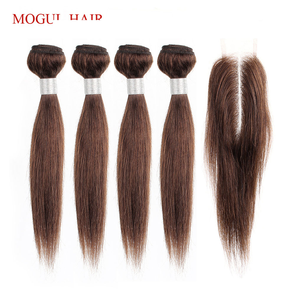 MOGUL HAIR 50g/pc 4 Bundles With 2x6 Kim K Lace Closure Dark Brown Brazilian Straight Non Remy Human Hair Natual Color 10-16 Inch Short Bob Style