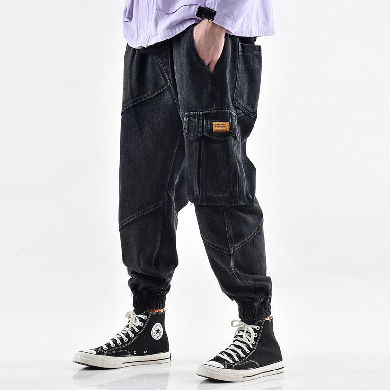 Japanese Style Fashion Men Jeans High Quality Loose Fit Multi Pockets Cargo Pants Slack Bottom Hip Hop Jeans Men Joggers Pants