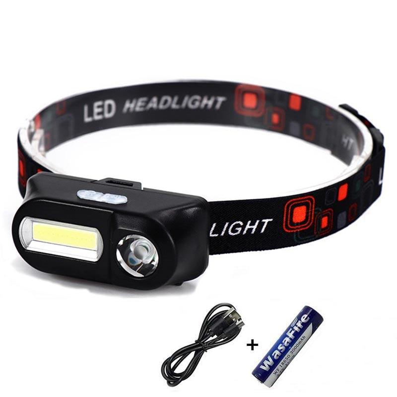 6 Modes USB Rechargeable COB LED Headlamp Headlight Light Torch Flashlight