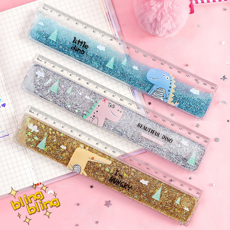 1 Pc Creative Cute Ruler Sequin Quicksand 20cm Kawaii Student Rulers Stationery School Office Learning Accessories Gift For Kids