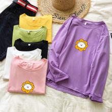 Women Long Sleeve Cartoon Print round neck Autumn Purple Fashion Short Tee T-shirt Vintage