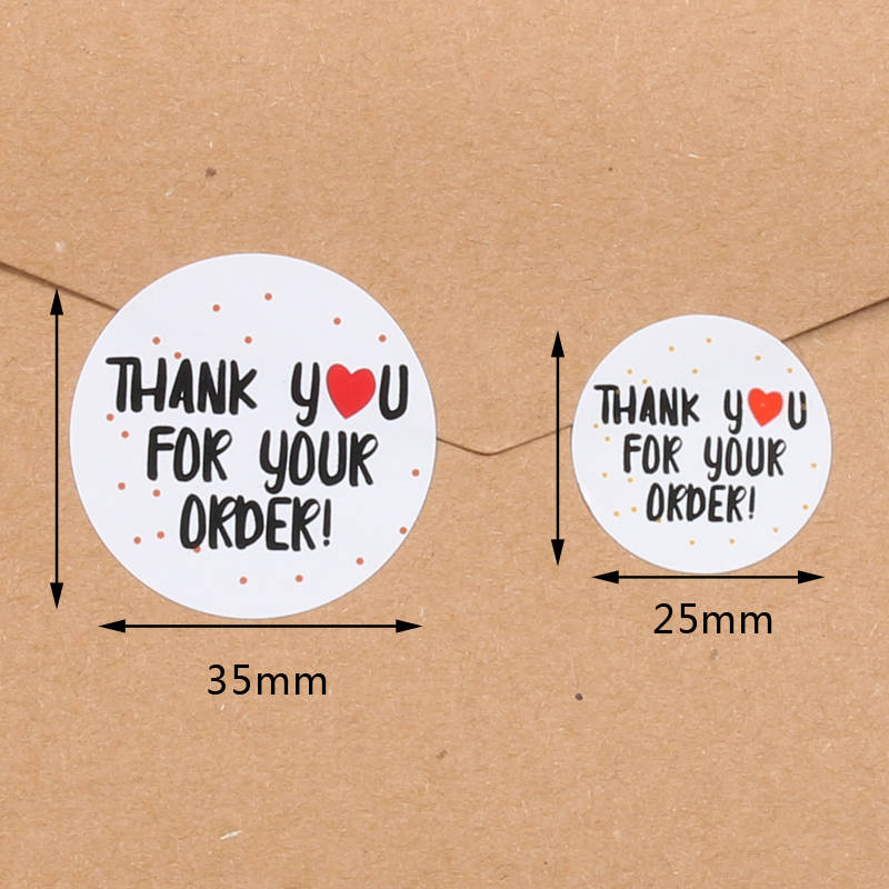 500pcs/roll  Thank You Stickers Handmade Sticker Circle Stationery thank you for your order Gift Seal Labels thank you sticker