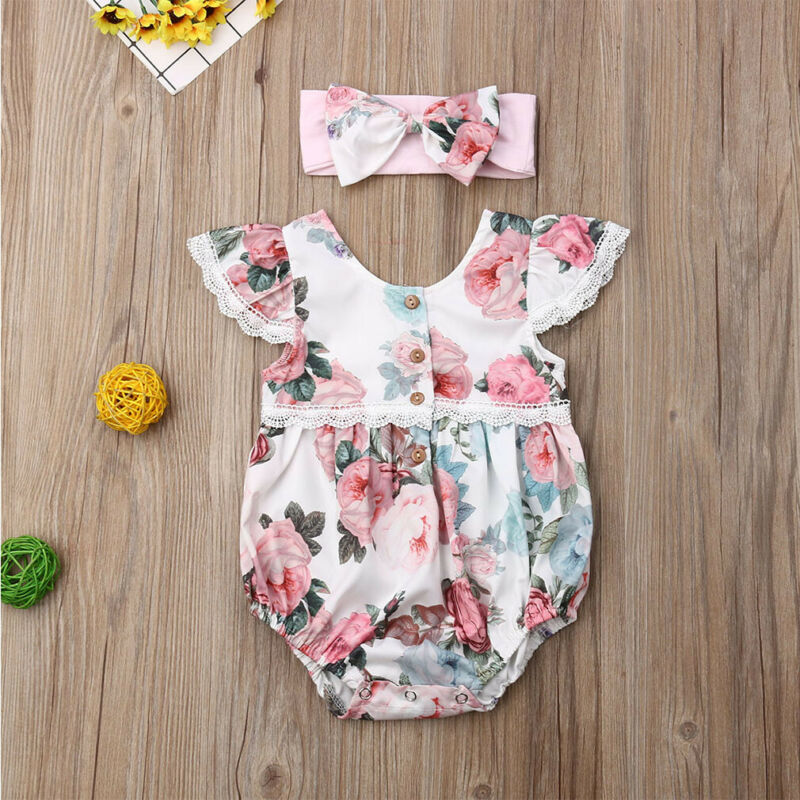 Newborn Infant Baby Girl Floral Clothes Ruffle Sleeves Romper Headband Outfit