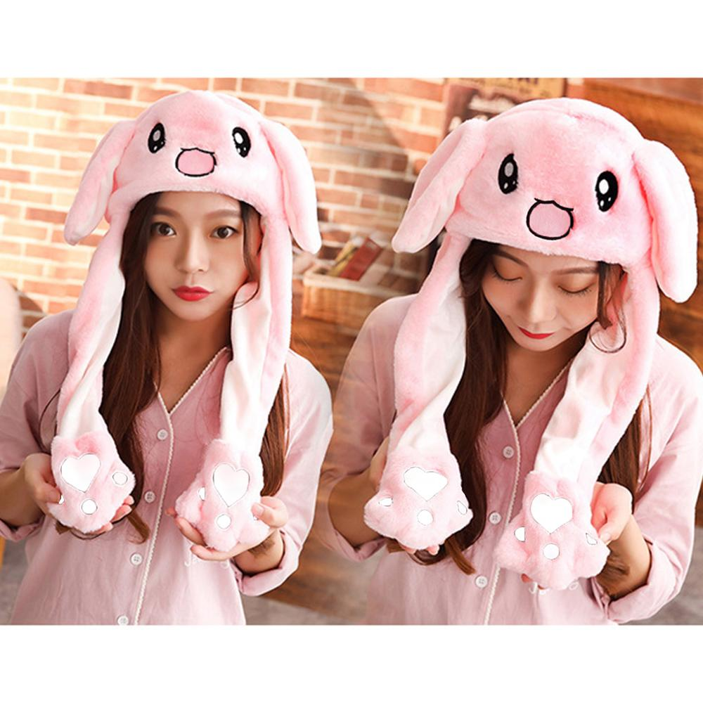 Cute Bunny Deer Pig Animal Plush Hat Kawaii Airbag Moving Jumping Ears Funny Dance Toy Gift Earflap Cap With Paws For Adult Kids
