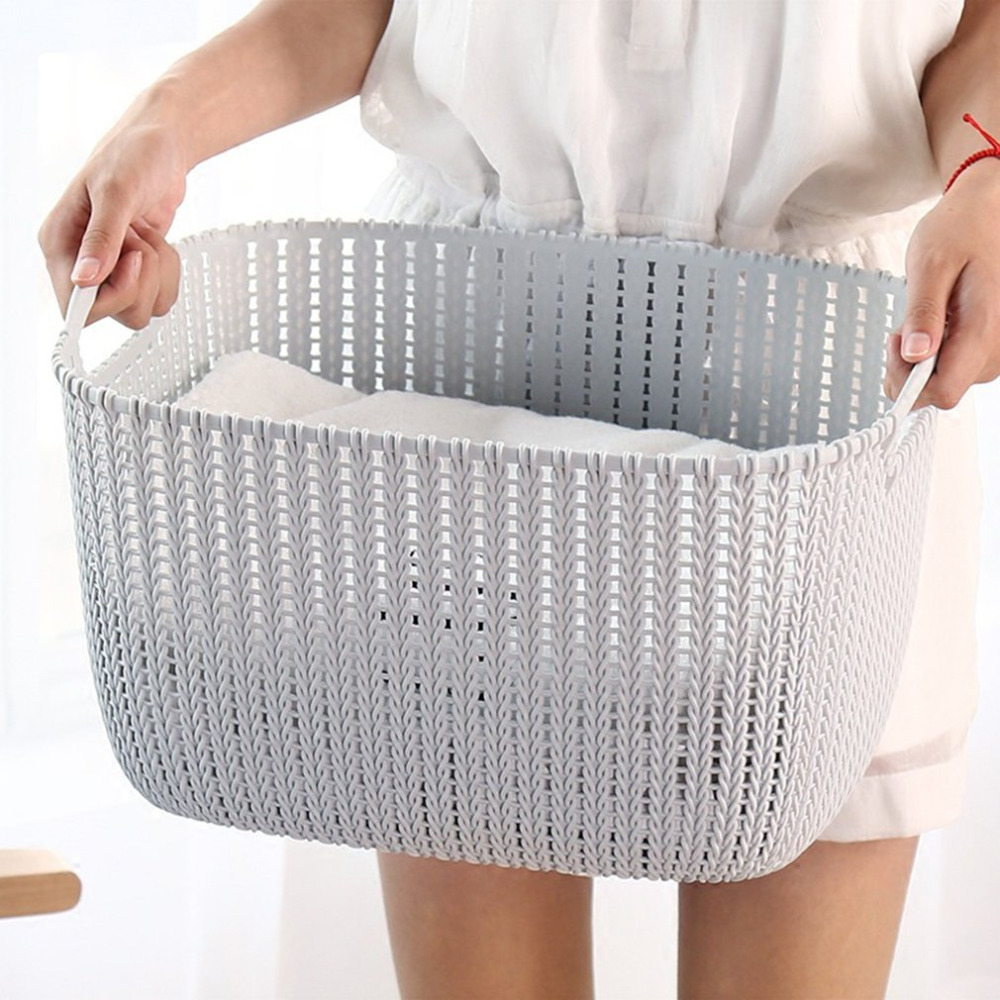 Hot 2020 New Plastic Weaving Rattan Basket Multifunctional Bathroom Shower Storage Basket Debris Storage Organizer With Handle