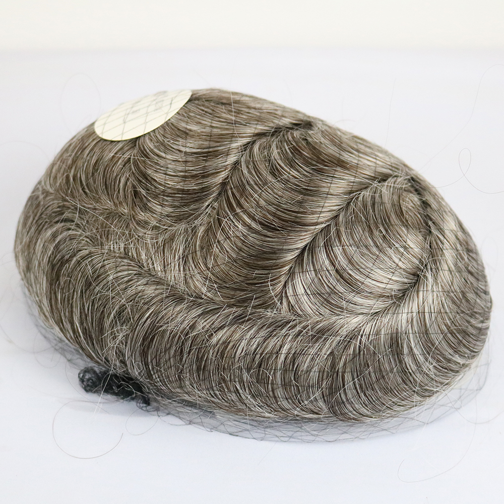 Super Thin Skin Base Bleached Knots Wig For Men Hair Brown Color With Grey Hair Color Inside V Loop 8x10 Inches Men Hair Wigs