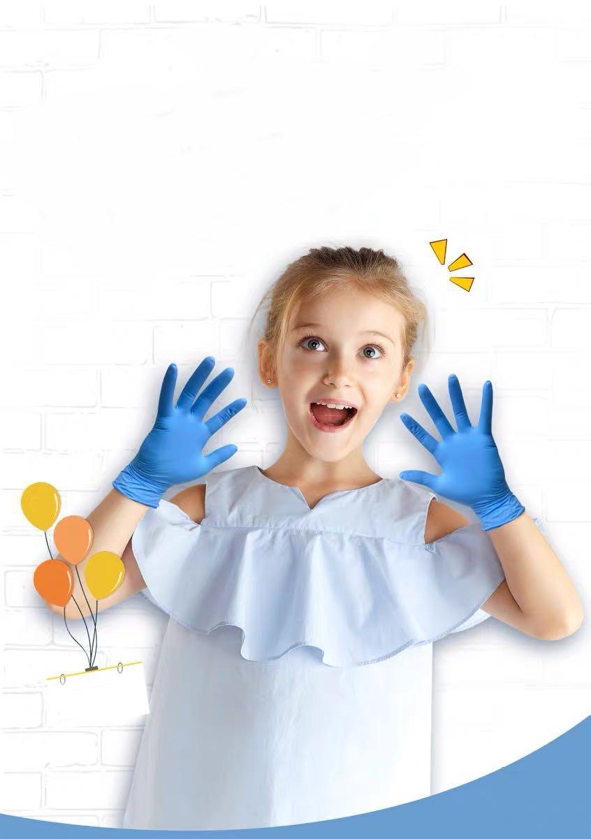 100pcs Children Disposable Rubber Gloves Nitrile Gloves Go Out Antivirus Gloves Safety Gloves Multifunctional Gloves