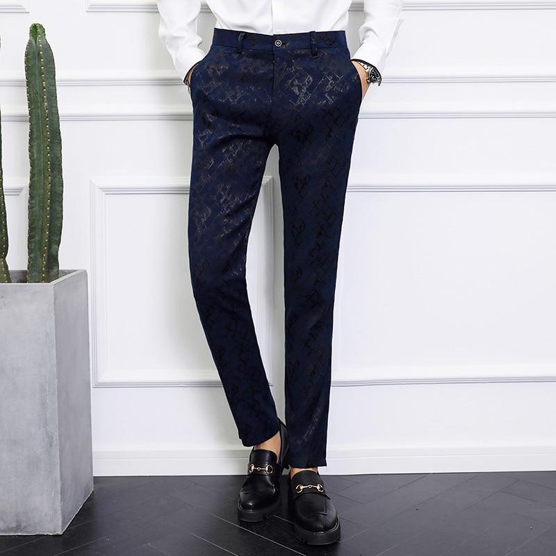 Brand Black Navy Blue Dress Pants Men Big Size Formal Pants For Men Casual Pantalon Homme Slim Fit Elegant Korean Fashion P31