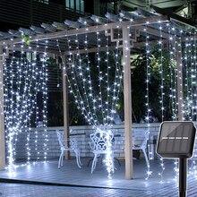 Thrisdar 2x3 M/3x3 M LED Solar Fenster Vorhang String Licht Outdoor Garten Solar Vorhang eiszapfen Girlande Licht Für Weihnachten Urlaub