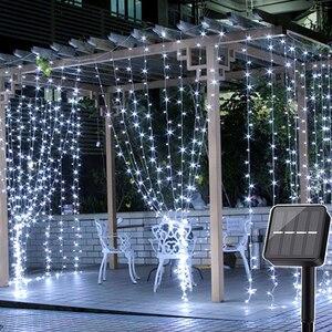Image 1 - Thrisdar 2x3M/3x3M LED Solar Window Curtain String Light Outdoor Garden Solar Curtain Icicle Garland Light For Xmas Holiday