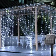 Thrisdar rideau solaire de fenêtre à LED, guirlande lumineuse dextérieur, rideau solaire pour vacances de noël 2x3M/3x3M