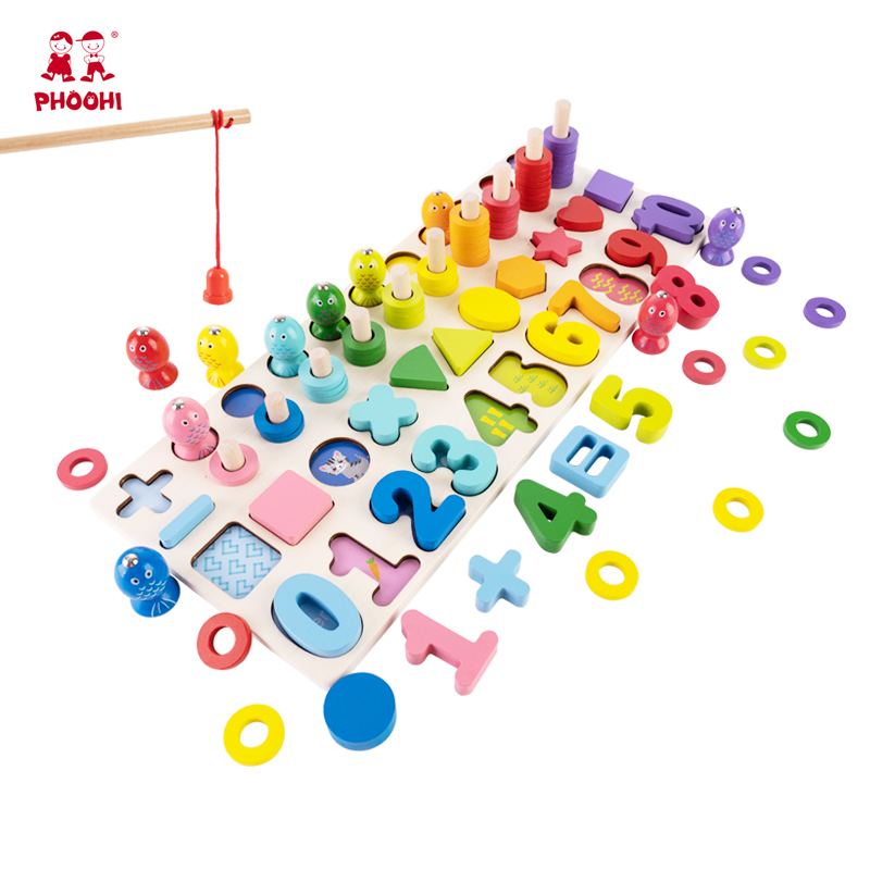 Kids 5 In 1 Montessori Educational Wooden Toys Fishing Game Infant Shape Match Board Early Learning Educational Toys For Babies