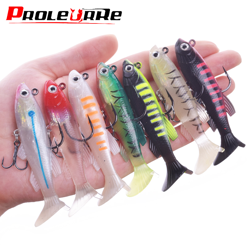 1Pcs 75mm 11.5g Small DD Fish Lead Fishing Lures T Tail Soft Fishing Lures Single Hook Artificial Jig Wobblers Bait Fishing