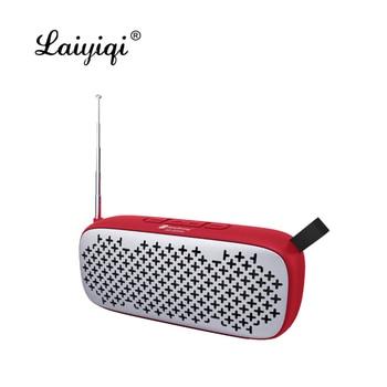Laiyiqi-Altavoces bluetooth con antena, radio FM, cinturón de cuero portátil, USB, manos...