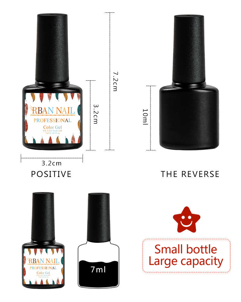 RBAN NAIL Gel Polish Set UV Vernis Semi Permanente Primer Top Jas 7ML Nail Gel Vernis Nail Art Manicure gel Poetsmiddelen Nagels