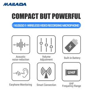 Image 4 - Mailada Vlog Gehen UHF Kondensator Drahtlose Mikrofon System Video Aufnahme Lavalier Revers Mic für iPhone Android DSLR pk Ritt