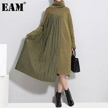 [EAM] abito da maglia a pieghe asimmetrico pieghettato da donna nuovo dolcevita manica lunga allentato Fit moda primavera autunno 2021 1DD1123
