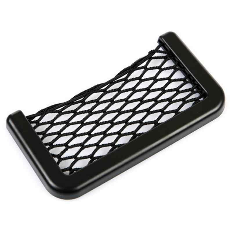 Uniwersalny mały samochód po stronie fotela przechowywanie z tyłu torba z siateczką worek strunowy Mesh organizer kieszeniowy Stick-on dla portfel przy telefonie torba z siateczką