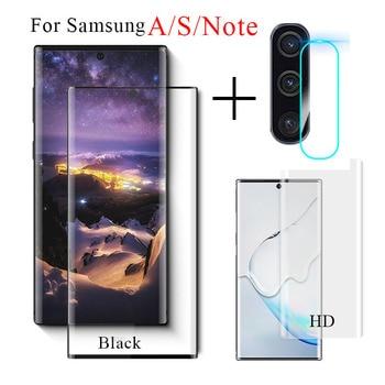2 en 1 para Samsung Galaxy Note 10 Plus Pro + Protector de pantalla de cristal templado S10 E Lite A20 A30 A40 A70 A50, conjunto de película para lente de cámara
