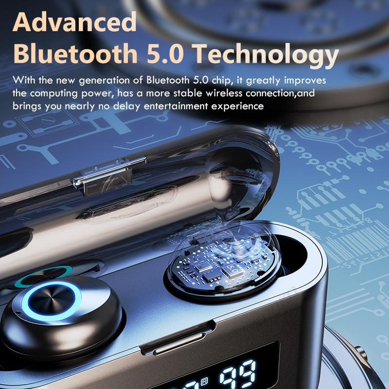 TWS Bluetooth Wireless Headphones 2200Mah Charging Box Sports Waterproof Earbuds Bluetooth 5.0 Earphone Headset With Microphone 3