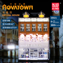Compatible Lepining City Street Series The Crystal House with Light Set Model Building Blocks Bricks Toys For Children DIY Gifts