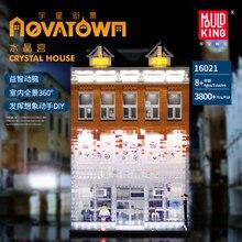 תואם Lepining עיר רחוב סדרת את קריסטל בית עם אור סט דגם בניין בלוקים לבני צעצועים לילדים DIY מתנות