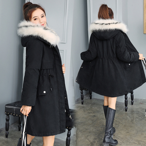 Image 2 -  30도 새로운 2020 여성 겨울 자켓 후드 모피 칼라 여성 겨울 코트 긴 모피 라이닝 플러스 사이즈 모피 파카