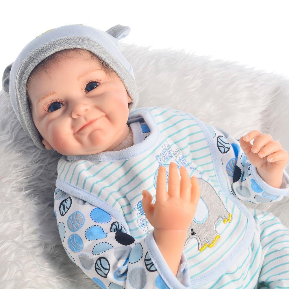 Jungen bebe reborn puppe 22 zoll lebensechte weiche silikon baby puppen spielzeug pop kinder geschenk spielen haus spielzeug