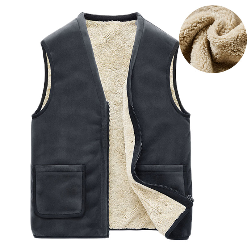 Autumn Winter Casual Sleeveless Jacket Men Warm Fleece Mens Vest Jacket 5XL Black Thick Sleeveless Men's Vest Gilet Chaleco