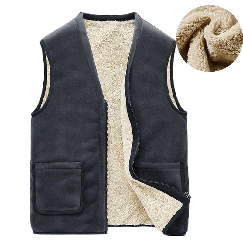 Autumn Winter Casual Sleeveless Jacket Men Warm Fleece Mens Vest Jacket 5XL Black Thick Sleeveless Men's Vest Gilet Chaleco
