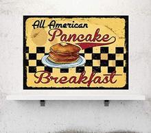 Anjoes pancake café da manhã retro vintage cozinha sinais decoração da parede metal estanho sinal 8x12 polegadas