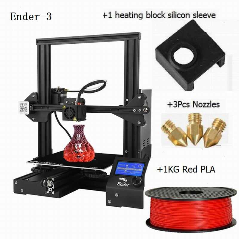 Creality 3D Printer Ender-3 Upgrade Tempered Kaca Hadiah Nozel dan Blok Pemanas Silicone + PLA