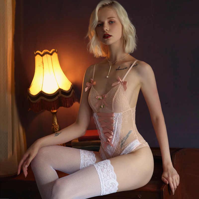 Japoński słodki słodkie body damskie seksowna bielizna body różowy bez rękawów V Neck śliczne body bielizna nocna bielizna Teddy Catsuit