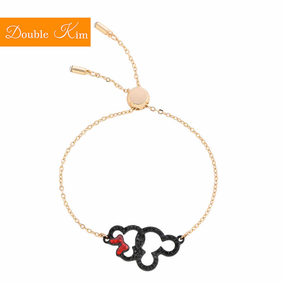 Mickey Minnie Mouse Zircon Bracelet Lovely Kawaii Copper Alloy Material Bangle Inlaid Zircon Rose Gold Color Women Jewelry