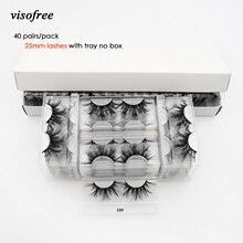 40 쌍 visofree 속눈썹 3d 밍크 속눈썹 트레이 없음 상자 25mm 속눈썹 밍크 속눈썹 극적인 볼륨 두꺼운 거짓 속눈썹 e89