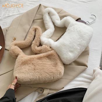 Fashion Solid Color Shoulder Underarm Bag Women Plush Soft Autumn Winter Fluffy Female Totes Handbag - discount item  40% OFF Women's Handbags