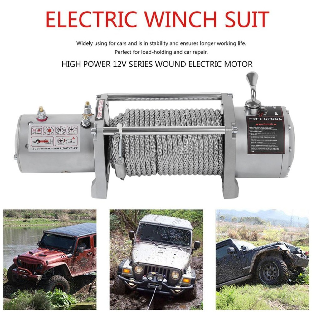 Splash-Proof Car Truck Auto Electric Winch 13000lb 5909 Kg With Rope With Wireless Radio Remote Control Heavy Duty