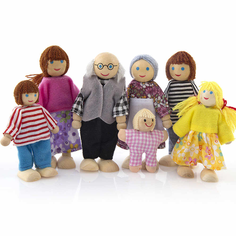 7PCS Wooden Furniture Dolls House Family Person Figures Miniature Set Doll Toys Pretend Play Dollhouse For Kids Child Play Toy