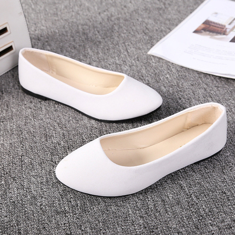 Summer Simple Soft Girl Sweet Round Toe Shoes Flat Bottom Schoolgirl Office Lady Drive Car White Shoes Lazy Flats