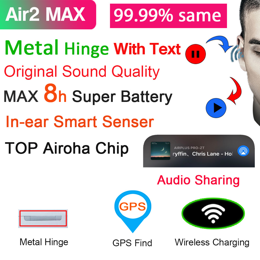 Air2 Max TWS беспроводные Bluetooth-наушники 1:1 Air2 с текстом наушники 10D Super Bass & 8H Super Battery & Best Mic PK i99999 Plus