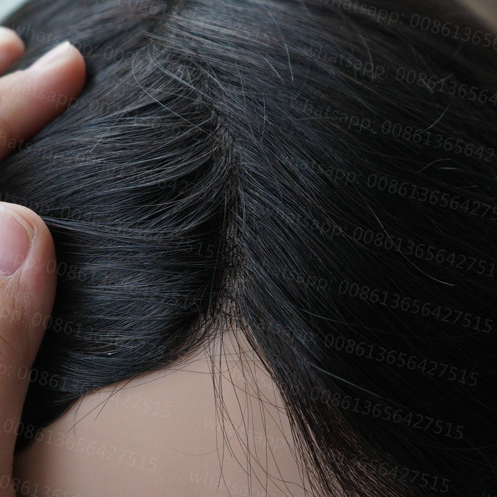 Hstonir Women Hair Topper Thin Skin Indian Remy Real Hair System Wig Toupee Top Piece Prosthesis TP13