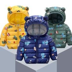 Новая детская одежда с хлопковой подкладкой на осень и зиму, пуховик с рисунком для малышей, тонкий светильник, пальто с хлопковой подкладко...