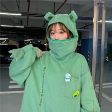Harajuku hoodie feminino sapo pulôver inverno sentido com capuz camisolas casuais outono bordado solto topo boneca decoração hoodies