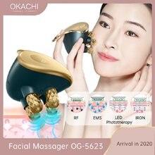 Masseur Facial 5 en 1 RF EMS avec tête de Massage 4D, dispositif Facial à usage domestique, favorise l'absorption de la crème pour le visage, 5 Modes de couleur claire