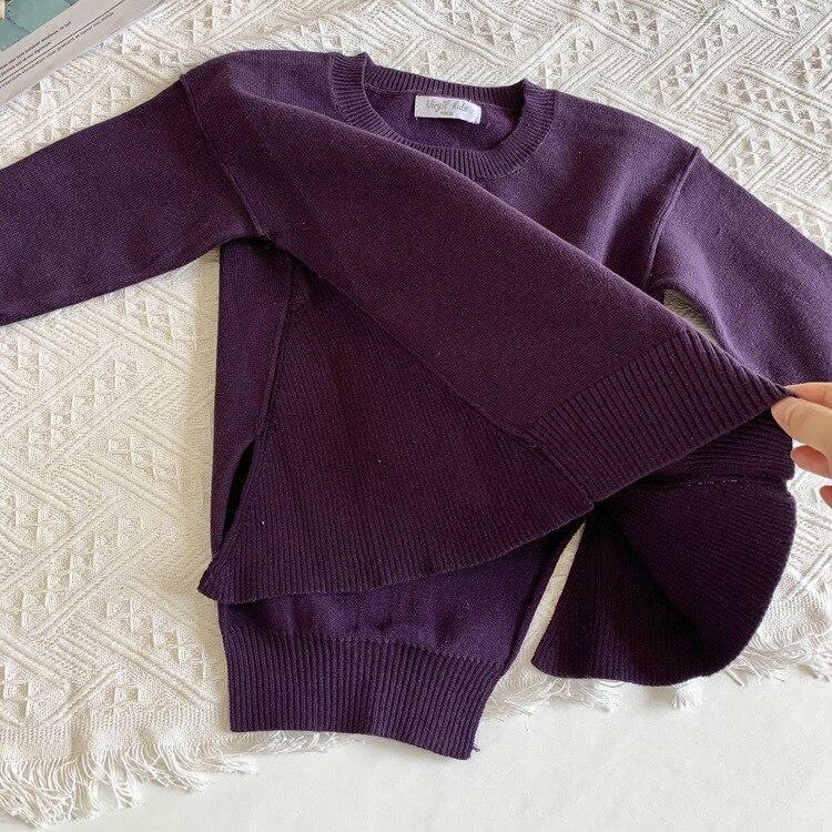 Новинка года; Детский свитер в Корейском стиле; свитер для девочек с асимметричным подолом