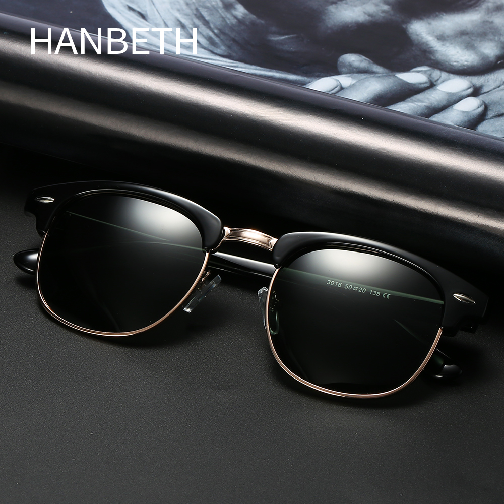 Semi Rimless Polarized Sunglasses Men Women Retro Brand Designer Club Classic Sun Glasses Half Frame Eyewear Oculos De Sol UV400